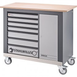 Darba galds ar ritenīšiem un koka galda virsmu STAHLWILLE WB 620
