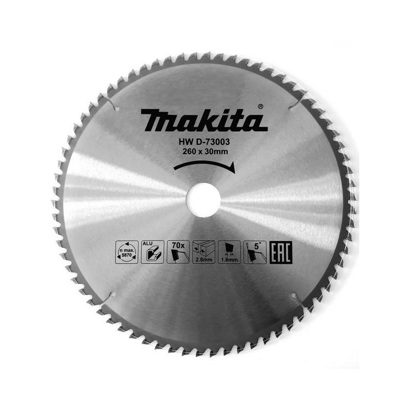 Zāģripa alumīnijam MAKITA 260x30x2,8 70T 5°